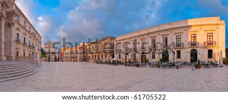 Piazza del Duomo, Syracuse, Sicily at sunrise - Panorama