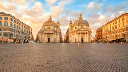 Piazza del Popolo (People's Square), Rome, Italy. Churches of Santa Maria in Montesanto and Santa Maria dei Miracoli. Rome architecture and landmark.