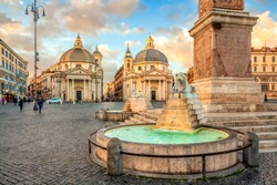 Piazza del Popolo (People's Square), Rome, Italy. Churches of Santa Maria in Montesanto and Santa Maria dei Miracoli. Egyptian obelisk of Ramesses II. Rome architecture and landmark.