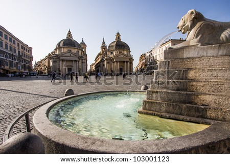 Piazza del Popolo with twin churches in Rome