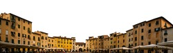 Piazza dell'Anfiteatro (Lucca, Italy) isolated on white background. The ring of buildings surrounding the square follows the elliptical shape of the former second century Roman amphitheater of Lucca