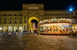 Piazza della Repubblica and C�arousel in Florence, Italy. Architecture and landmark of Florence, night Florence