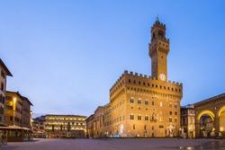 Piazza della Signoria in front of the Palazzo Vecchio in Florence, Italy.