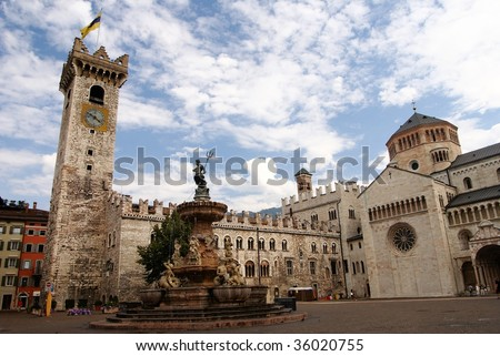 Piazza Duomo with the Torre Civica, Trento, Italy - stock photo