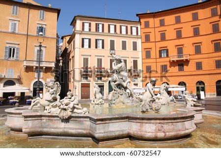 Piazza Navona, Neptune Fountain in Rome, Italy