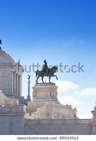 Piazza Venezia in central Rome, Italy. Monument for Victor Emenuel II.