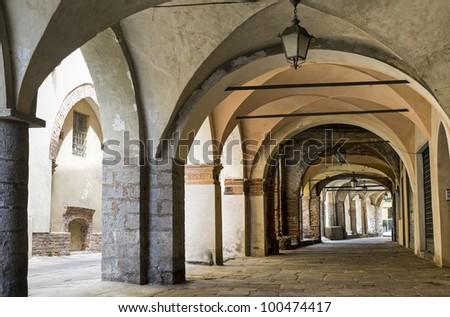 Piazzo (Biella, Piedmont, Italy) - A portico in the ancient town