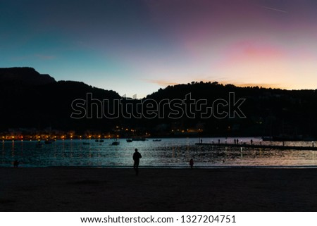 Pic of Puerto de Soller, Mallorca. Image of the sunset in autumn in mallorca.