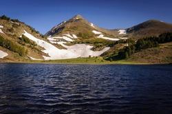 Pic Peric twin peaks seen from the Estany de la Llosa lake (Pyrenees-Orientales, France) ESP: Vistas de los dos Picos Peric desde el Estany de la Llosa (Pirineos Orientales, Francia)