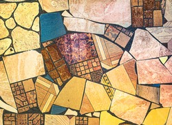Picasso abstractions style, grunge background with the wild chaotic broken mosaic ceramic tiles