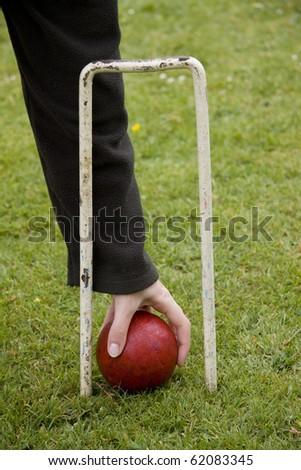 Picking up a croquet ball through hoop