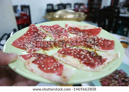pickle beef, raw beef or raw meat #1469662808