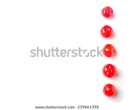 Pickled cherry fruit over white background #239861398
