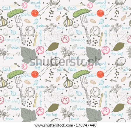 Pickled cucumbers, ingredients for pickling cucumbers, Seamless pattern