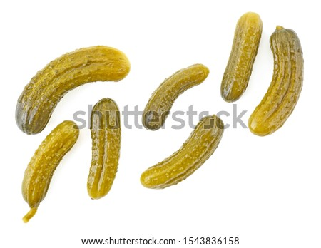 Pickled cucumbers isolated on a white background, top view. Cornichons. Photo stock ©