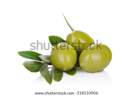 Pickled green olives and olive tree branch on a white background.