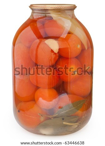Pickled red tomatoes. Isolated on white background with clipping path.