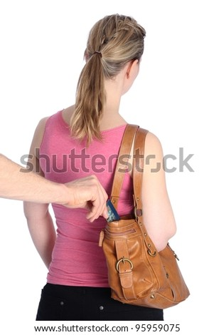 Pickpocketing a Credit card out of a handbag of a woman