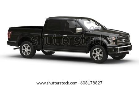 Pickup black 3d car illustration isolated on white