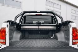 Pickup car with open trunk door