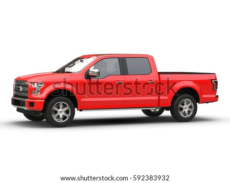 Pickup red 3d car illustration isolated on white