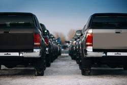 Pickup suv cars at the parking. Rental trucks at the parking lot