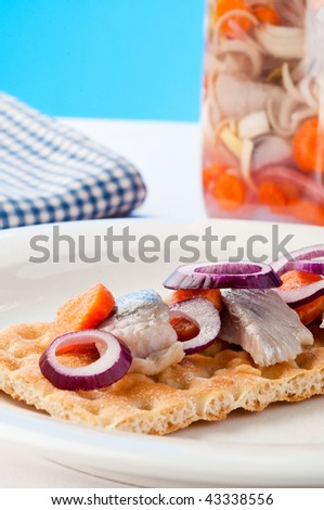 Picled Herring on crispbread
