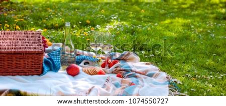 picnic basket and food. A bottle of wine and two glasses. Romanica. Green meadow with flowers. Spring in the Netherlands. Holidays. Top view. Place for text