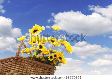 Picnic basket filled with sunflowers shot against blue summer sky
