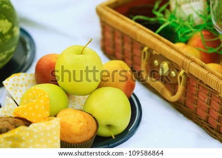 Picnic basket - fruits, muffins