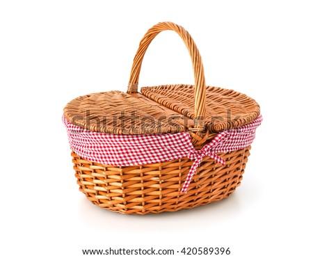 Picnic basket, isolated on white background