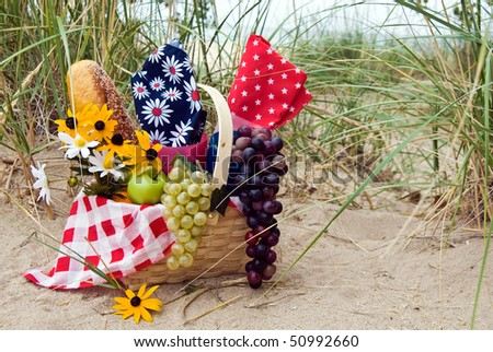 picnic basket on beach dune