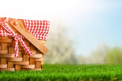 Picnic basket on the grass on the background of nature. Relaxation and summer mood. Departure for a picnic for the weekend or vacation.