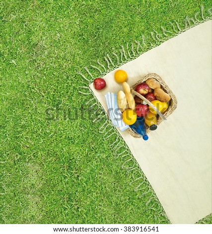Picnic basket on the green grass.