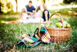 Picnic Basket With Blanket and Pears On The Grass. On Front Of The Family In Bokeh
