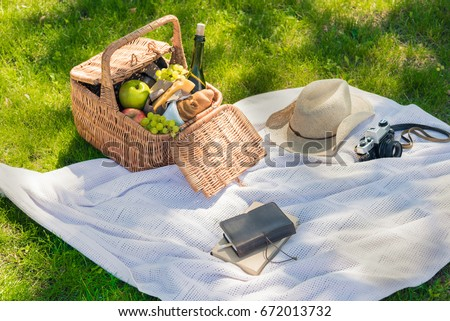 Picnic basket with fruits, cheese and wine bottle, hat, vintage camera and notebook with pencil on meadow
