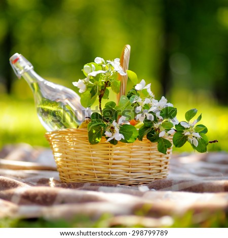 Picnic basket with fruits, flowers and water in the glass bottle