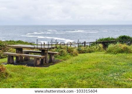 Picnic bench on the Oregon coast.