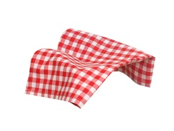 Picnic checkered towel isolated.Dish cloth promortion design.Food display.Gingham napkin.Checked kitchen  tablecloth.