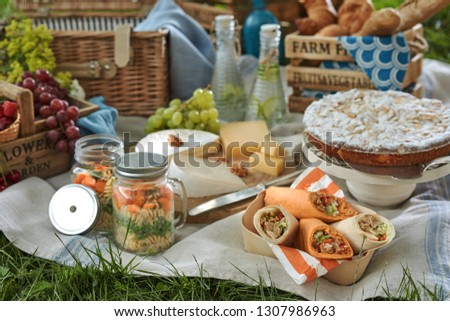 Picnic fare on a blanket on the grass with delicious vegetable preserves, veggie wraps, cheese, grapes, cake for dessert and cold infused water in bottles