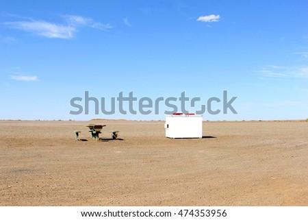 picnic furniture in desolate...