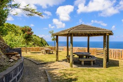 Picnic hut with table and view on the Atlantic Ocean, Azores, Portugal, Europe