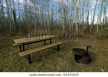 Picnic or camping site in autumn