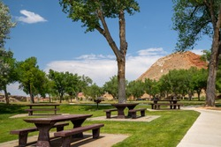 Picnic spot area inside of Hot Springs State Park in Thermopolis, Wyoming