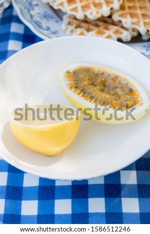 Picnic table decoration on nature with a white plate with lemon and passion fruit and waffles, everything stands on a blue checkered tablecloth. Foto stock ©