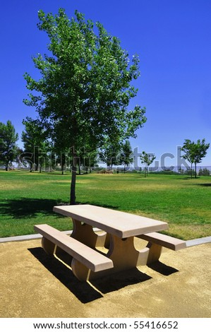 Picnic Table in a public park - stock photo