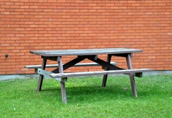 Picnic table in a yard
