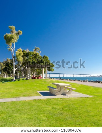 Picnic table in Embarcadero Marina Park, San Diego, California.