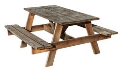Picnic Table made of weathered wood on an isolated white background as a symbol of summer and barbecue leisure activity.