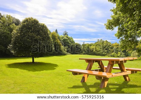 Picnic table on a green meadow with trees on background